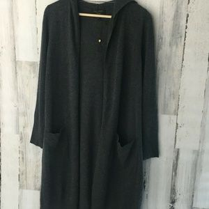 Charter Club Cashmere Long Open Hooded Cardigan